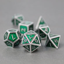 Load image into Gallery viewer, Chrome and Green  - 7 Piece Metal Polyhedral Dice Set with Tin Box