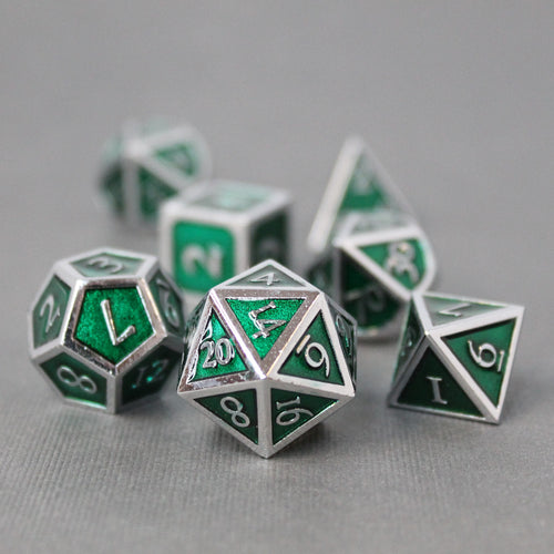 Chrome and Green  - 7 Piece Metal Polyhedral Dice Set with Tin Box