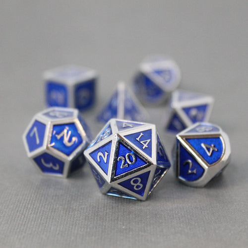 Chrome and Blue  - 7 Piece Metal Polyhedral Dice Set with Tin Box