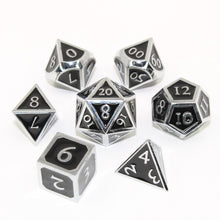 Load image into Gallery viewer, Chrome and Black  - 7 Piece Metal Polyhedral Dice Set with Tin Box