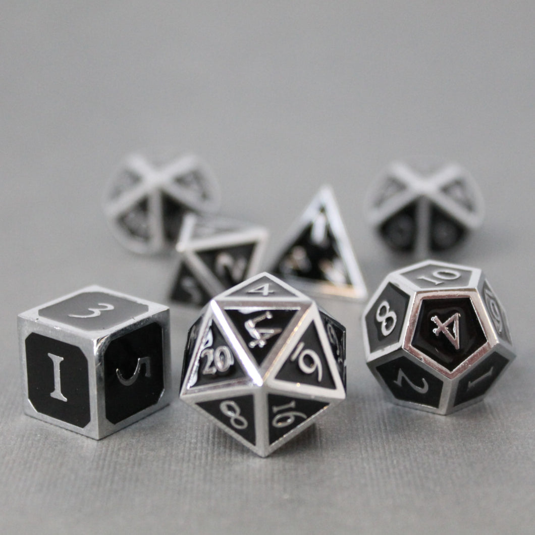 Chrome and Black  - 7 Piece Metal Polyhedral Dice Set with Tin Box