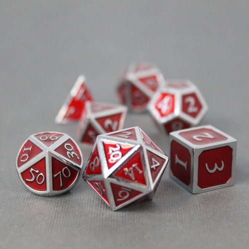 Chrome and Red  - 7 Piece Metal Polyhedral Dice Set with Tin Box