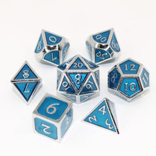 Load image into Gallery viewer, Chrome and Light Blue  - 7 Piece Metal Polyhedral Dice Set with Tin Box