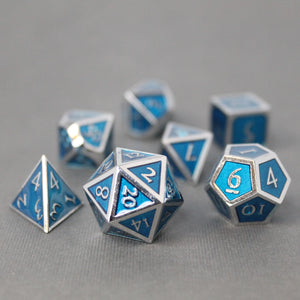 Chrome and Light Blue  - 7 Piece Metal Polyhedral Dice Set with Tin Box