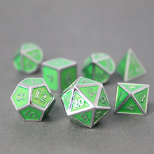 Load image into Gallery viewer, Chrome and Light Green  - 7 Piece Metal Polyhedral Dice Set with Tin Box