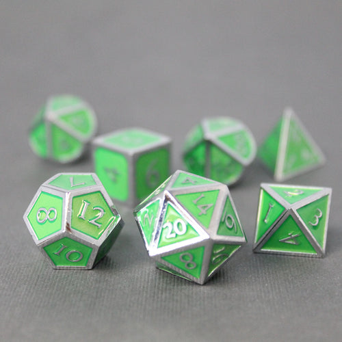 Chrome and Light Green  - 7 Piece Metal Polyhedral Dice Set with Tin Box