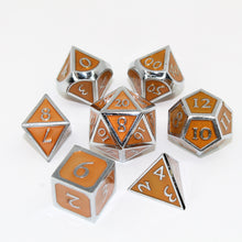 Load image into Gallery viewer, Chrome and Orange  - 7 Piece Metal Polyhedral Dice Set with Tin Box