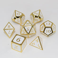 Load image into Gallery viewer, Gold with White - 7 Piece Metal Polyhedral Dice Set with Metal Box