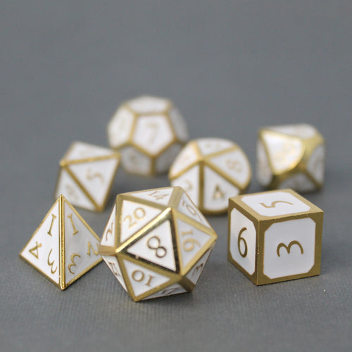 Gold with White - 7 Piece Metal Polyhedral Dice Set with Metal Box