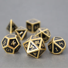 Load image into Gallery viewer, Gold with Black - 7 Piece Metal Polyhedral Dice Set with Metal Box