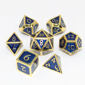 Gold with Blue - 7 Piece Metal Polyhedral Dice Set with Metal Box