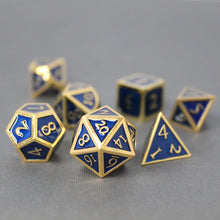 Load image into Gallery viewer, Gold with Blue - 7 Piece Metal Polyhedral Dice Set with Metal Box