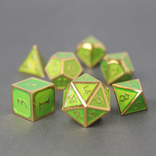Gold with Green - 7 Piece Metal Polyhedral Dice Set with Metal Box