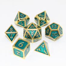 Load image into Gallery viewer, Gold with Seafoam Green - 7 Piece Metal Polyhedral Dice Set with Metal Box
