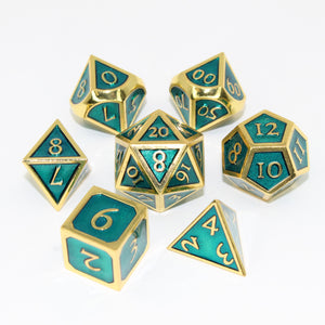 Gold with Seafoam Green - 7 Piece Metal Polyhedral Dice Set with Metal Box