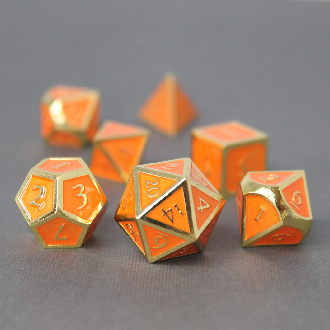 Gold with Orange - 7 Piece Metal Polyhedral Dice Set with Metal Box