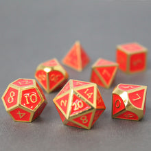 Load image into Gallery viewer, Gold with Red Orange - 7 Piece Metal Polyhedral Dice Set with Metal Box