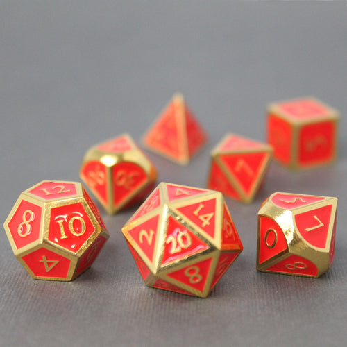 Gold with Red Orange - 7 Piece Metal Polyhedral Dice Set with Metal Box