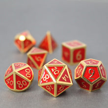 Load image into Gallery viewer, Gold with Red - 7 Piece Metal Polyhedral Dice Set with Metal Box