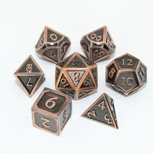 Load image into Gallery viewer, Refined Copper - 7 Piece Metal Polyhedral Dice Set with Tin Box