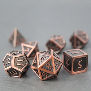 Refined Copper - 7 Piece Metal Polyhedral Dice Set with Tin Box