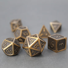 Load image into Gallery viewer, Refined Bronze - 7 Piece Metal Polyhedral Dice Set with Tin Box