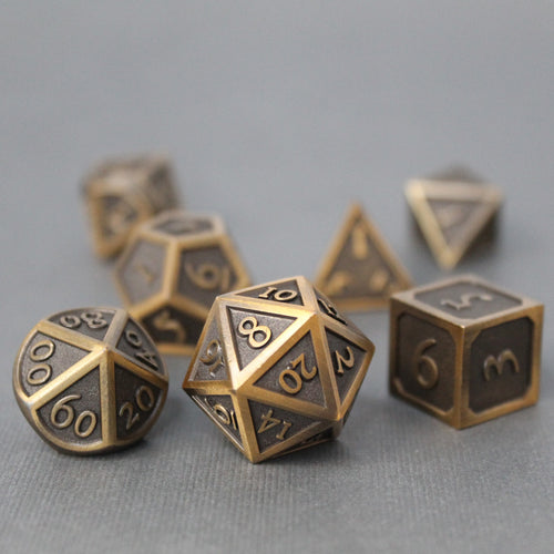 Refined Bronze - 7 Piece Metal Polyhedral Dice Set with Tin Box