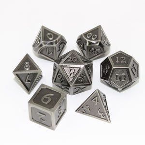 Refined Nickel - 7 Piece Metal Polyhedral Dice Set with Tin Box