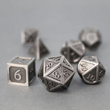 Load image into Gallery viewer, Refined Nickel - 7 Piece Metal Polyhedral Dice Set with Tin Box