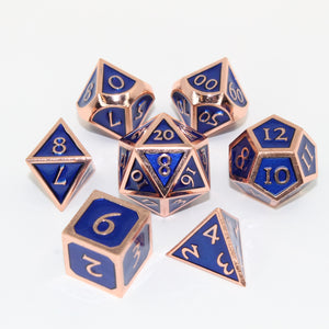 Red Copper and Blue - 7 Piece Metal Polyhedral Dice Set with Tin Box