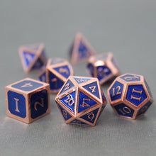 Load image into Gallery viewer, Red Copper and Blue - 7 Piece Metal Polyhedral Dice Set with Tin Box
