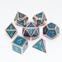 Load image into Gallery viewer, Red Copper and Light Blue - 7 Piece Metal Polyhedral Dice Set with Tin Box