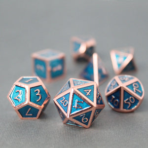 Red Copper and Light Blue - 7 Piece Metal Polyhedral Dice Set with Tin Box