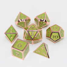 Load image into Gallery viewer, Red Copper and Light Green - 7 Piece Metal Polyhedral Dice Set with Tin Box