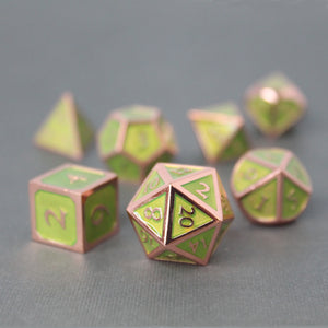 Red Copper and Light Green - 7 Piece Metal Polyhedral Dice Set with Tin Box
