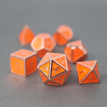 Load image into Gallery viewer, Red Copper and Orange - 7 Piece Metal Polyhedral Dice Set with Tin Box