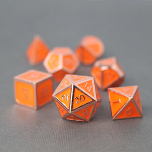 Red Copper and Orange - 7 Piece Metal Polyhedral Dice Set with Tin Box