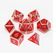 Load image into Gallery viewer, Red Copper and Red - 7 Piece Metal Polyhedral Dice Set with Tin Box