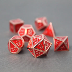 Red Copper and Red - 7 Piece Metal Polyhedral Dice Set with Tin Box