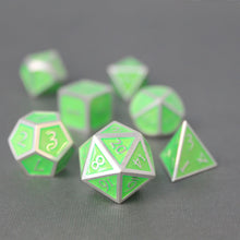 Load image into Gallery viewer, Silver and Green - 7 Piece Metal Polyhedral Dice Set with Tin Box