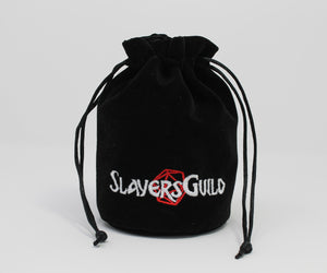 Black Velvet and Satin Dice Bag for Roleplay Gaming Like D&D - Slayers Guild