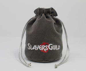 Gray Velvet and Satin Dice Bag for Roleplay Gaming Like D&D - Slayers Guild