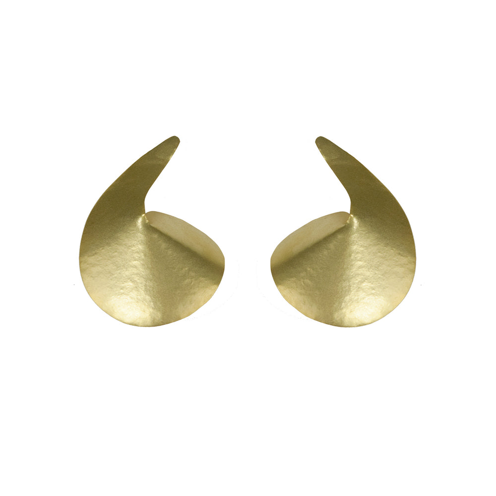 Gold Comma Shape Earrings