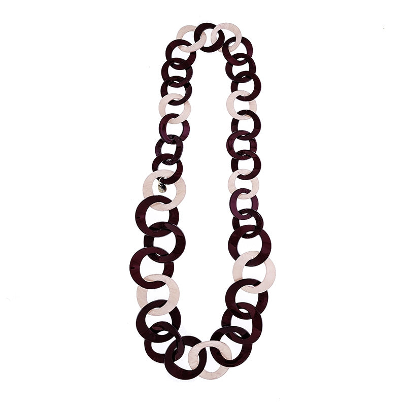 Long Link Necklace Garnet