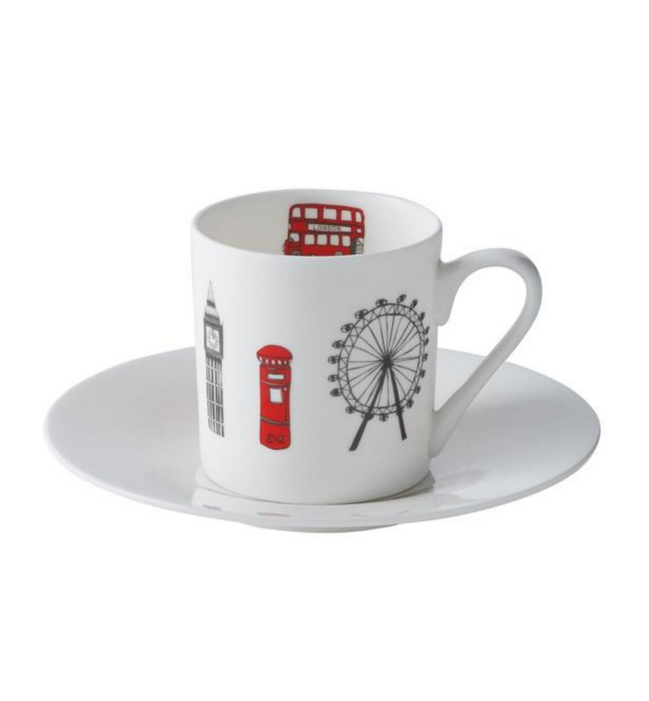 London Skyline Set of 2 Espresso Cups and Saucers