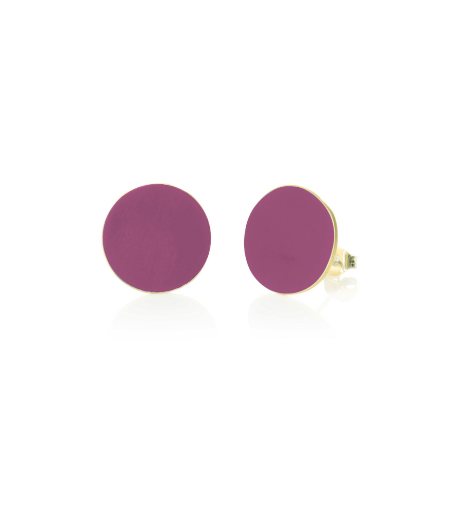 Coloured Brass Round Earrings