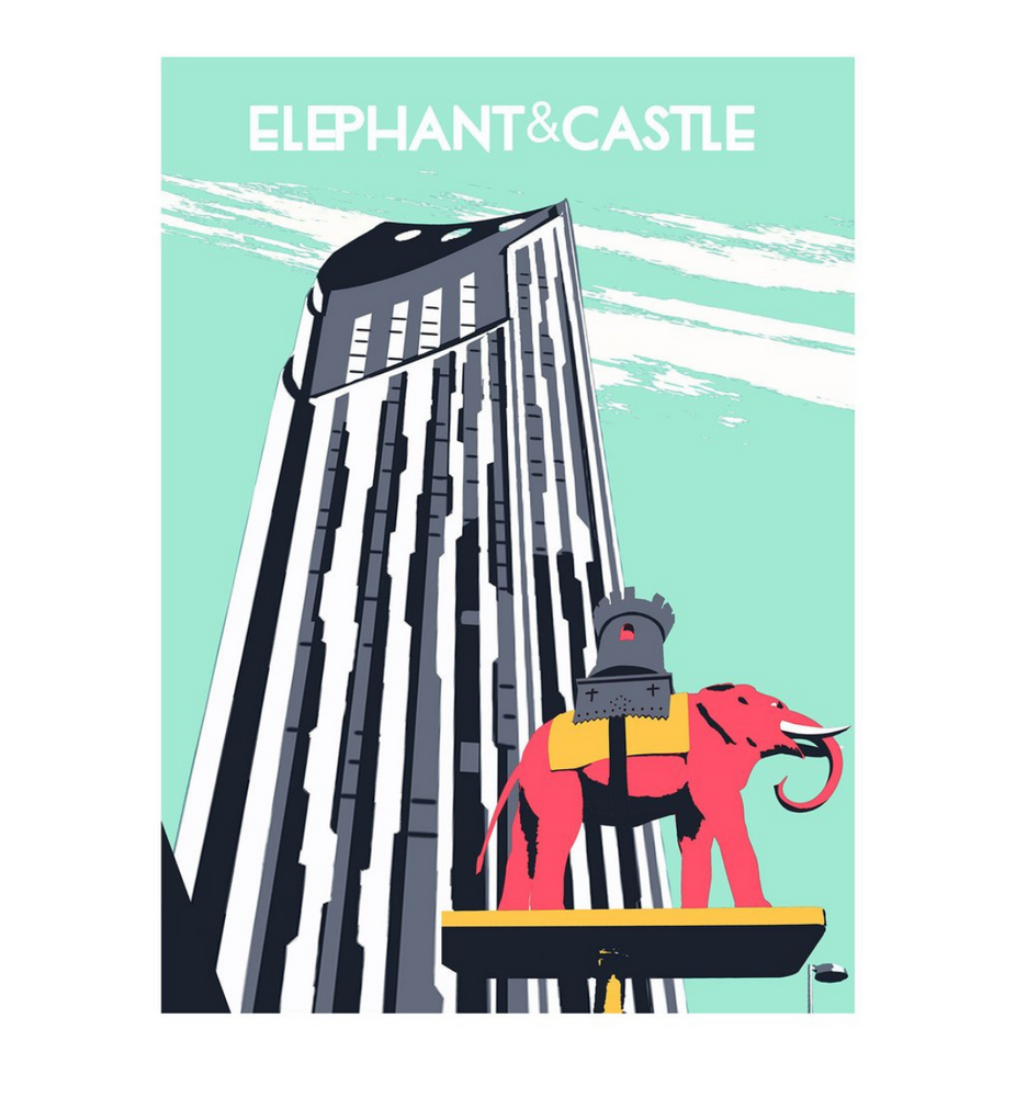 Elephant and Castle Print