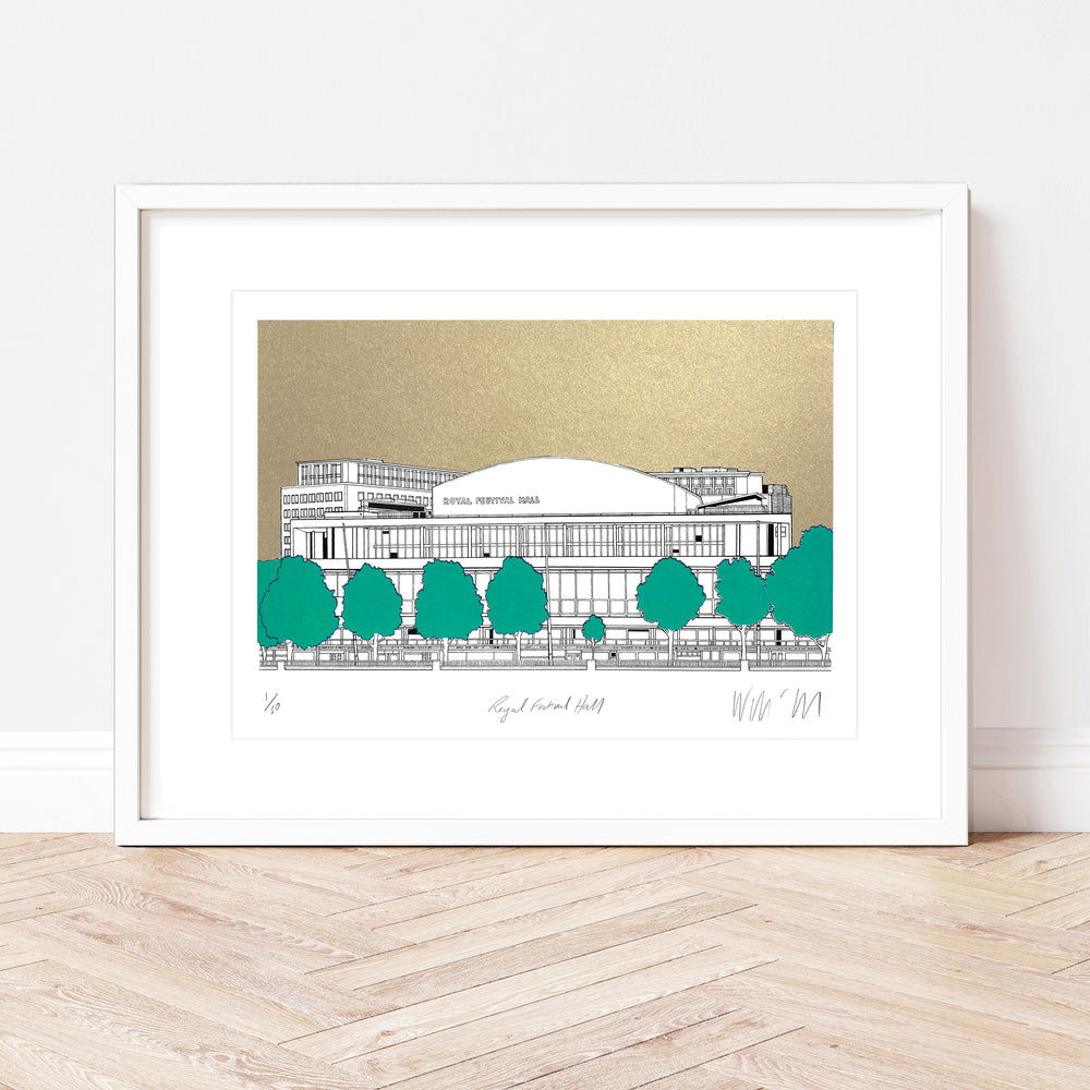 Royal Festival Hall Gold Print