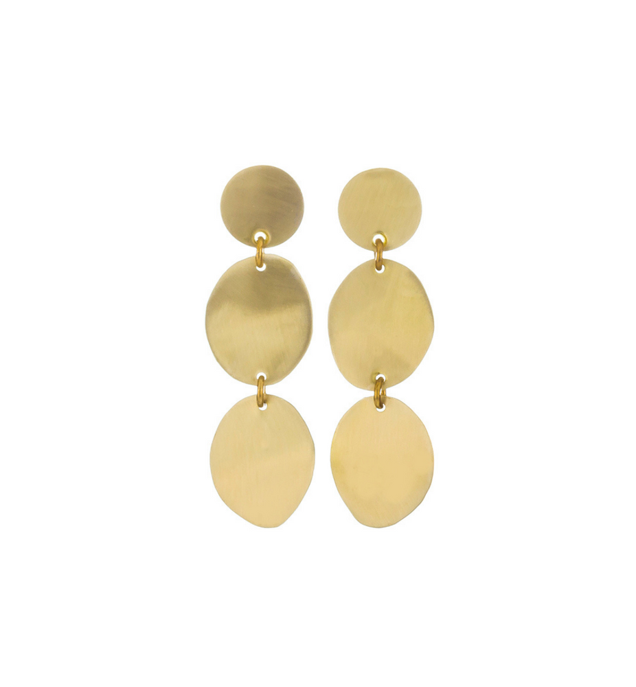 Three Pebble Brass Earrings