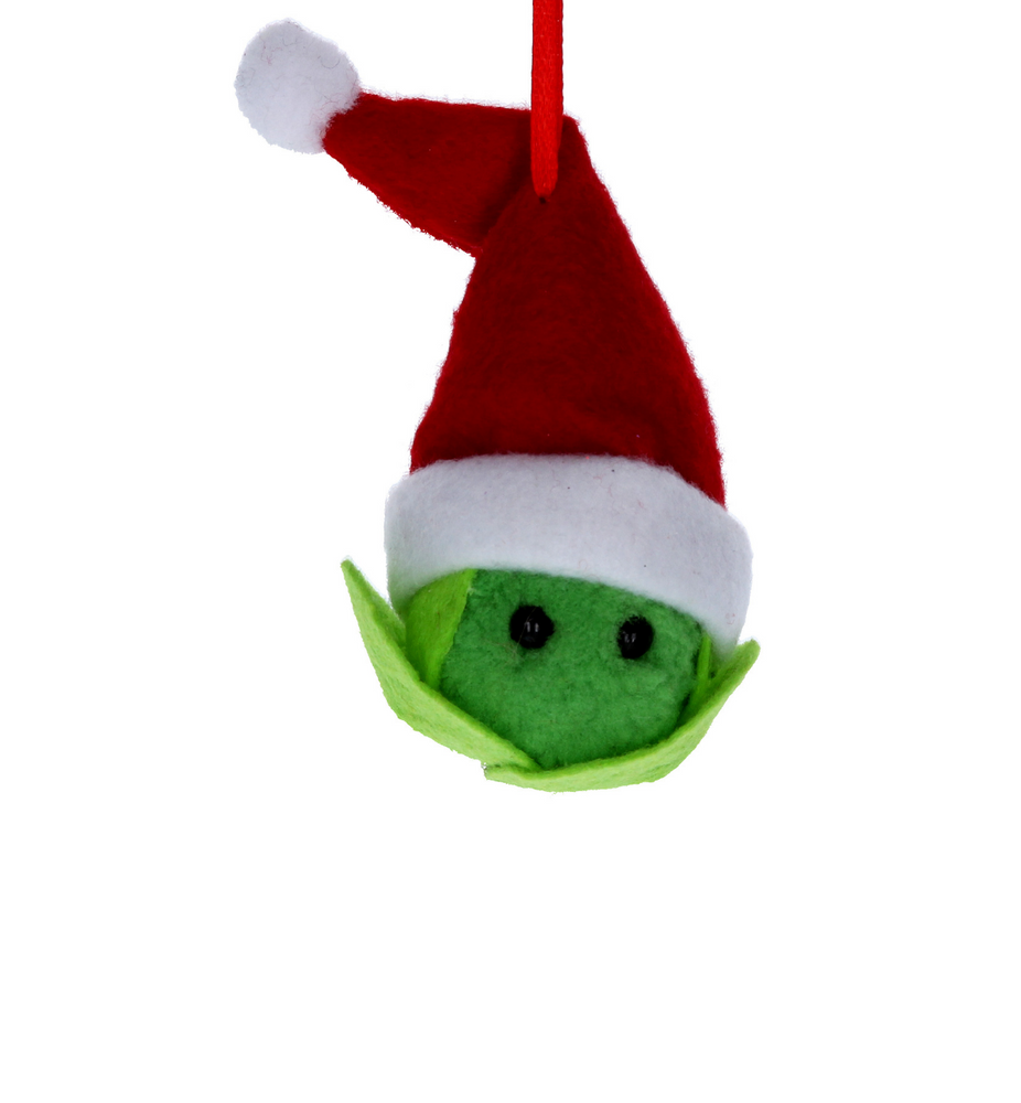 Brussel Sprout with Santa Hat Tree Decoration